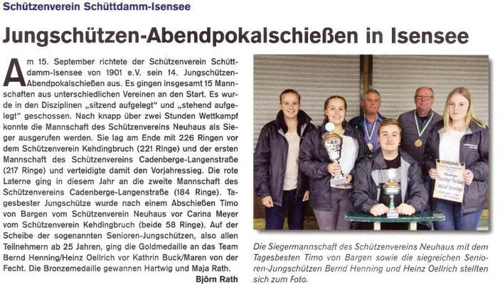 Jungschützen-Abendpokalschießen 2018 (Quelle: Hemmoor Magazin, 10. Jahrgang, Nr. 30, Dezember 2018)