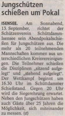 Vorbericht Jungschützen-Abendpokalschießen 2014 (Quelle: Stader Tageblatt 12.09.2014)