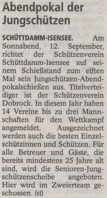 Vorbericht Jungschützen-Abendpokalschießen 2015 (Quelle: Stader Tageblatt 11.09.2015)