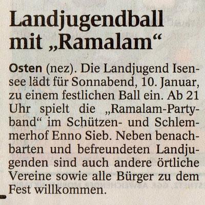 Vorbericht Landjugendball 2009 (Quelle: NEZ 06.01.2009)