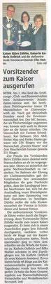 Club- und Kaiserschießen 2013 (Quelle: NEZ 04.05.2013)