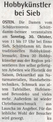 Vorbericht Hobbykünstlermarkt 2016 (Quelle: Hadler Kurier 26.10.2016)