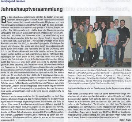 Jahreshauptversammlung 2016 (Quelle: Hemmoor-Magazin, 8. Jahrgang, Heft 23, August 2016)