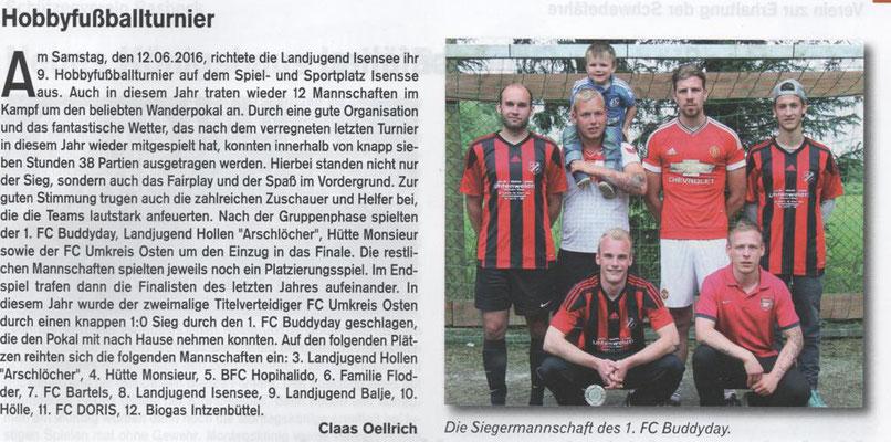 Fußballturnier 2016 (Quelle: Hemmoor-Magazin, 8. Jahrgang, Heft 23, August 2016)