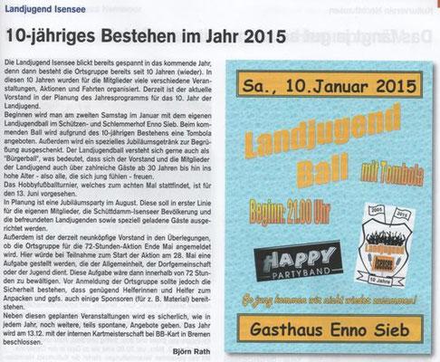 Vorbericht 2015 (Quelle: Hemmoor Magazin, 6. Jahrgang, Nr. 18, Dezember 2014)