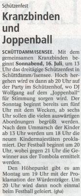 Vorbericht Schützenfest 2016 (Quelle: NEZ 13.07.2016)