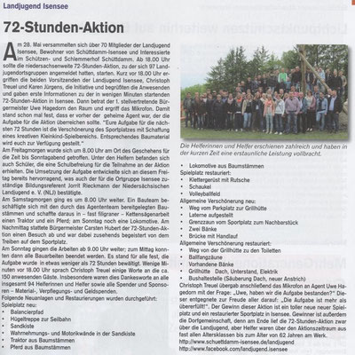 72-Stunden-Aktion (Quelle: Hemmoor-Magazin, 7. Jahrgang, Heft 20, Juli 2015)