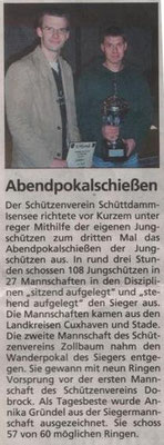 Jungschützen-Abendpokalschießen 2007 (Quelle: NEZ 09.11.2007)