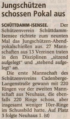 9. Jungschützen-Abendpokalschießen (Quelle: Stader Tageblatt 25.09.2013)