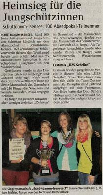 Jungschützen-Abendpokalschießen 2012 (Quelle: NEZ 01.10.2012)