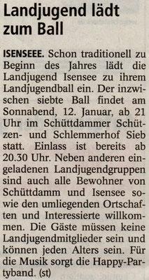 Vorbericht Landjugendball 2013 (Quelle: Stader Tageblatt 07.01.2013)