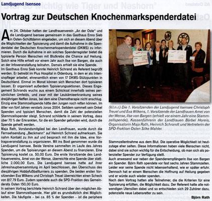 DKMS-Vortrag am 24.10.2013 (Quelle: Hemmoor Magazin, 5. Jahrgang, Nr. 15, Dezember 2013)