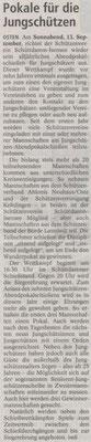 Vorbericht Jungschützen-Abendpokalschießen 2014 (Quelle: NEZ 06./07.09.2014)