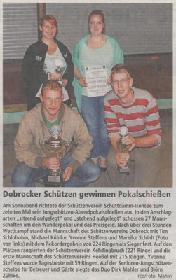 Jungschützen-Abendpokalschießen 2014 (Quelle: NEZ 19.09.2014)