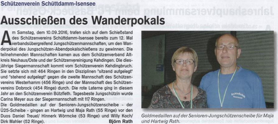 Jungschützen-Abendpokalschießen 2016 (Quelle: Hemmoor Magazin, 8. Jahrgang, Nr. 24, Dezember 2016)