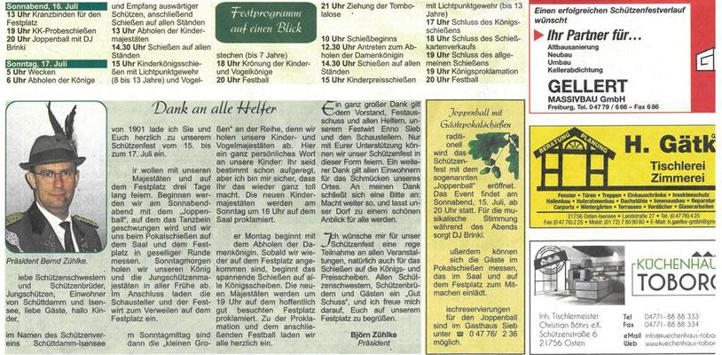 Vorbericht Schützenfest 2017 - untere Seite (Quelle: NEZ 13.07.2017)