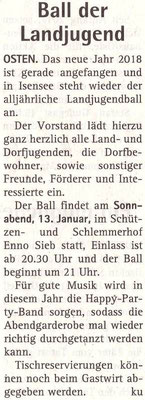 Vorbericht Landjugendball 2018 (Quelle: Hadler Kurier 06.01.2018)