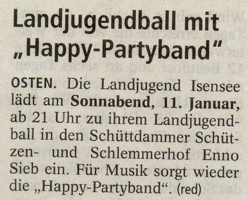 Vorbericht Landjugendball 2014 (Quelle: NEZ 10.01.2014)