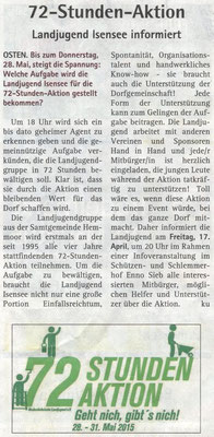 Ankündigung Infoveranstaltung 72-Stunden-Aktion (Quelle: Hadler-Kurier 15.04.2015)