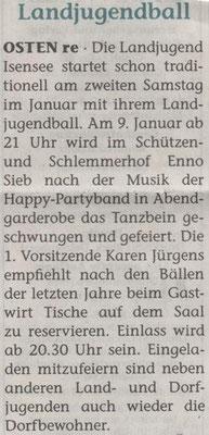 Vorbericht Landjugendball 2016 (Quelle: Elbe Weser Aktuell 06.01.2016)