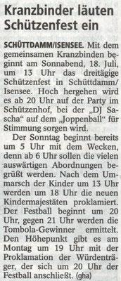 Vorbericht Schützenfest 2015 (Quelle: Stader Tageblatt 15.07.2015)