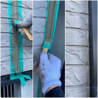 ここまでやります!仕上外壁色に近いコーキング色を選択して施工します。