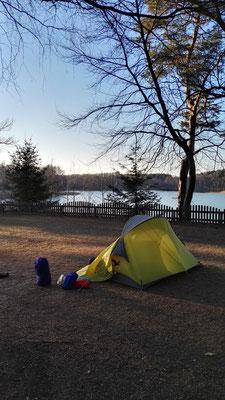 Campingplatz am Bikowsee - mal wieder bin ich der erste Gast