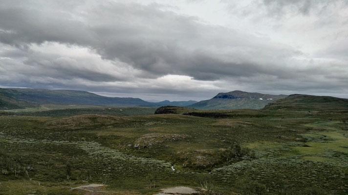 Grün überwucherte Felsenlandschaft im nördlichsten Zipfel Schwedens