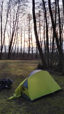 Auf dem Campingplatz am Plauer See in der Nähe von Malchow - niemand hier außer mir