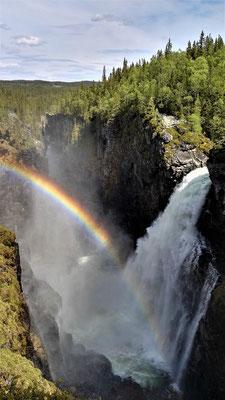 ...der Hällingsafallet mit Regenbogen