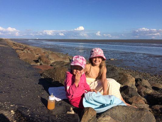 Glückliche Kinder am Nordsee-Deich