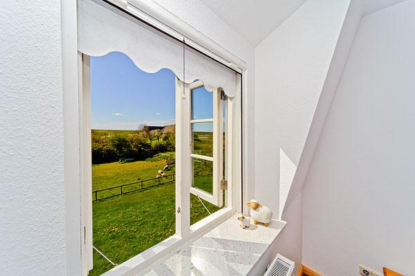 Ausblick aus einem der Holzfenster in der FeWo Hooge