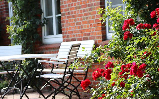 Romantische Sitzecke mit roten Rosen