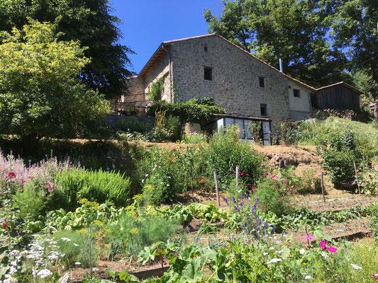 la maison et la serre à semis vues depuis le jardin potager
