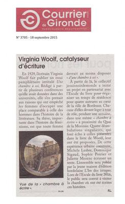 Article de Courrier de Gironde, Une chambre à écrire