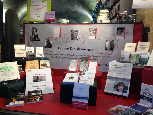 Lancement des éditions L'Ire des marges, février 2013, La Machine à Lire (Bordeaux), première vitrine