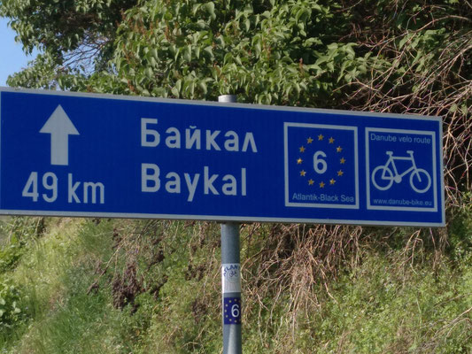 Das erste Radwegschild nach so vielen Kilometern
