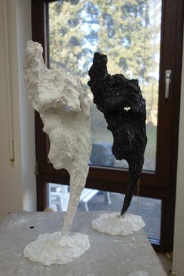 Skulptur, Etrusker 2, Gips & Holz, plaster & wood