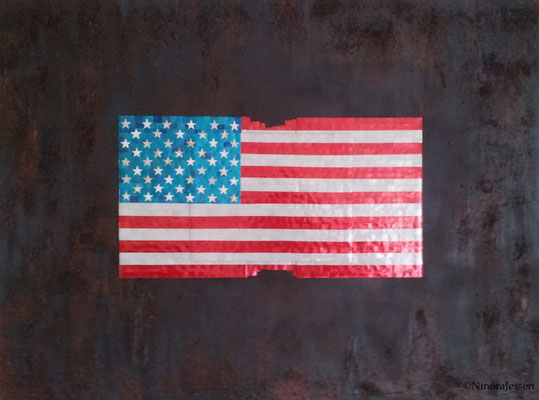 2016, Flag No II, aluminum&acrylic on canvas, 36in x 48in / 91,4cm x 121,9cm -SOLD-