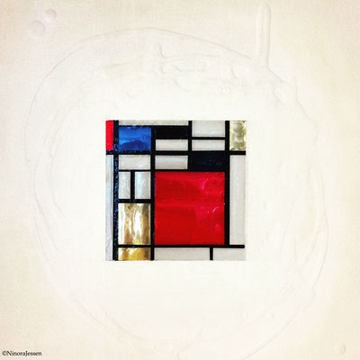 2016, Mondrian Goes Pop, aluminum&acrylic on canvas, 10in x 10in / 25,4cm x 25,4cm -SOLD-