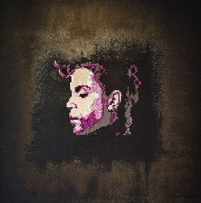 2017, Prince,  aluminum&acrylic on canvas, 20in x 20in / 50,8 cm x 50,8cm