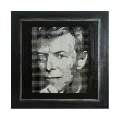 2017, David Bowie, aluminum&acrylic on canvas, 12in x 12in / 30,4cm x 30,4cm