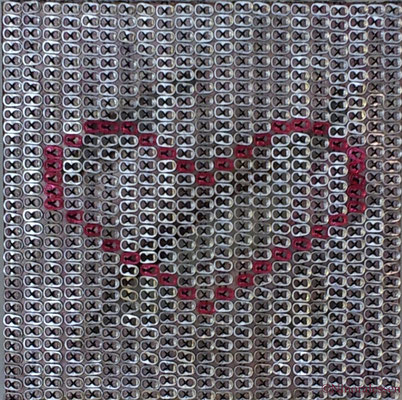 2016, Unchain my Heart, pull tabs over canvas, 20in x 20in / 50,8 cm x 50,8cm