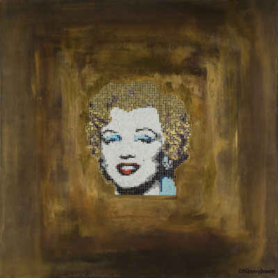 2015, Gold Marilyn, aluminum&acrylic on canvas, 36in x 36in / 91,4cm x 91,4cm