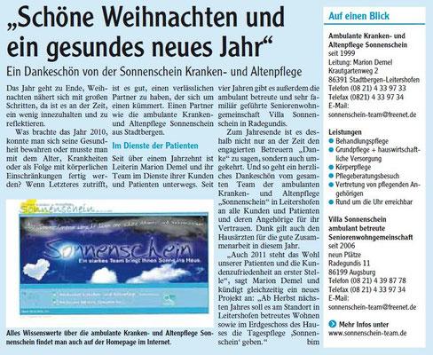 Anzeige Augsburger Allgemeine Nr. 291 16.12.2010