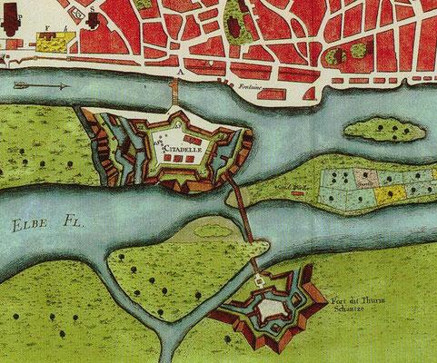 """Ausschnitt aus der Karte """"Magdebourg - Capitale du Duché de meme Nom"""" von Ingenieur Le Rouge, Paris, 1757 Bild entnommen aus 1200 Jahre Magdeburg, Band 2, Seite 137, Helmut Asmus, Magdeburg 2002"""