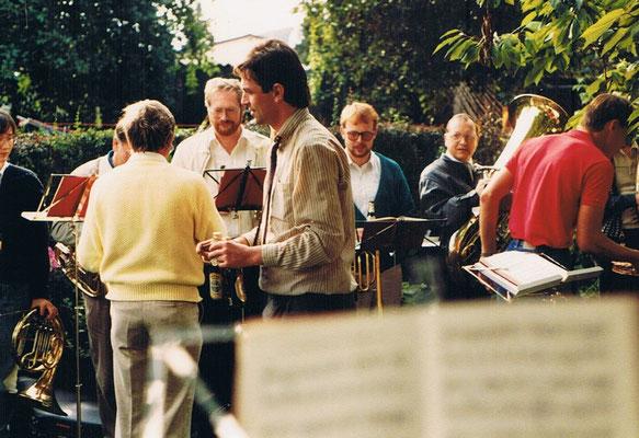 1987 Bläser: v.l.n.r. Sabine Westphal, Rolf Brinkmeier, Achim Geldbach und Bodo Meier