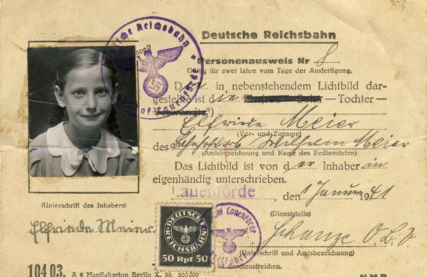 Personenausweis der Deutschen Reichsbahn für Angehörige