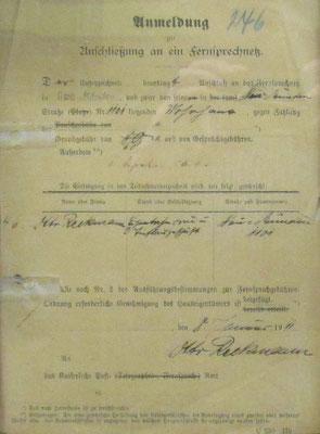Anmeleformular aus dem Jahr 1911 7 Foto: M. Zühlsdorf