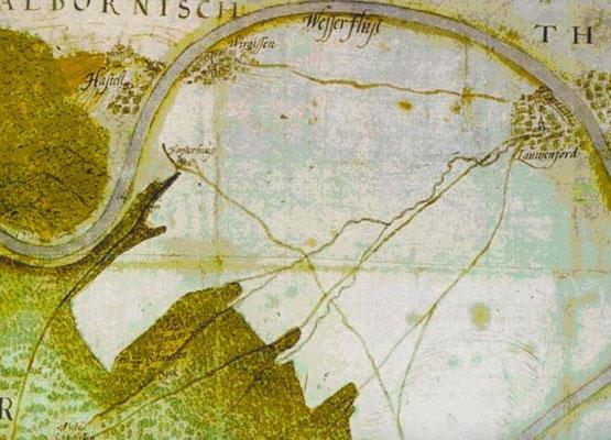 Alte Karte mit Blick aus Nord/Ost